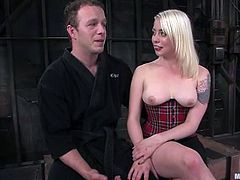 Billy and Lorelei Lee are getting naughty in a basement in BDSM scene. Lorelei makes the guy lick her twat and then beats him brutally with a lash.