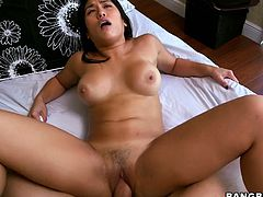 All natural Mia LI is getting nailed deep in her thight pussy missionary style