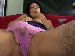Horny brunette milf goes nasty and swallows after deep sucking younger cock