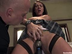 Sexy girl gets tied up in her bedroom and toyed with a vibrator. After that she sucks big dick putting it deep in her mouth. Then she also gets facialed.
