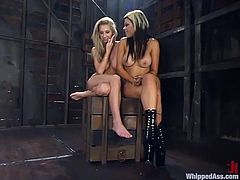Lewd dominatrix Gia Paloma is playing BDSM games with Sammie Rhodes. Gia binds and whips the bitch and then bangs her cunt with a strapon in missionary position.