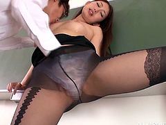 A hot and horny Japanese teacher called Natsume Inagaw will rip her pantyhose so this student can fuck her pussy hard.