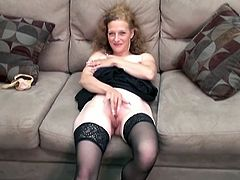 Watch this horny chick getting undressed and rubbing her wet pussy on her sofa in front of the camera in ChickPass Network sex clips.