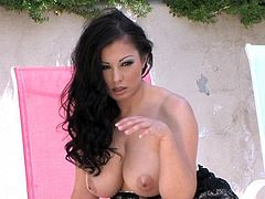 Big boobs brunette Aria Giovanni stimulates her wet vag in adorable solo outdoor