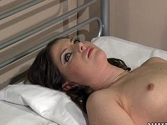 Charming brunette nympho goes to doctor. He then tells her to lie on the bed so he can check to see if everything is ok. Once she is completely naked he begins his check-up which isn't like a normal one you're used to seeing. Damn, that hairy pussy of her drives me nuts.