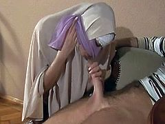Hijabi Muslimah sucks sperm out of Huge 10 inch Western Cock