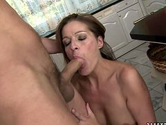You are right here to enjoy watching one skilled whore in action. Her sex partner fucks her snatch hard in all possible styles right on the kitchen table.