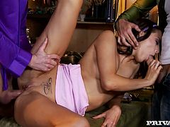 Seductive brunette jerks off one cock and gets her pussy drilled hard at the same time. She is hot tempered insatiable brunette who can serve all dudes around.