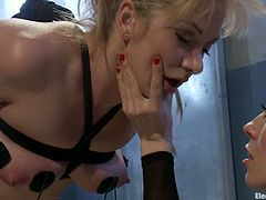 This bondage video has Lea Lexis dominated by Lorelei Lee who does some crazy stuff to her, including torture and forced pussy eating.