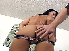 Hot MILF shows her hot ass and boobs. Then she gets her shaved pussy licked and then fucked in different poses.