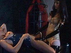 Hotties in leather costumes are enjoying pure pleasure during top lesbian femdom