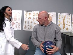 Horny brunette MILF Aletta Ocean has got huge fake boobs and sexy fit body. She seduces her patient craving for hard flesh in her mouth. So she gives awesome blowjob right in the doctor's office.