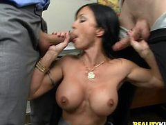 A tight big titty fuckin' whore sucks on a hard dick and then gets it shoved balls deep into her fuckin' gash, check it out right here!