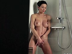 The sexy Shalina Divine and her big round tits are in the shower wet and horny enough to masturbate with the stream of water.
