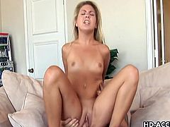 Desirable blonde floozy Staci Thorn lies on a pool table while her horny lover pummels her dripping wet cunt with his throbbing sausage. She spreads her legs wide open while he fondles her small tits and screws her silly. In the end she slides her pussy down his big dong.