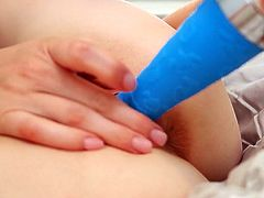 She is horny at all time,therefore she carries her blue plastic sex toy with her all the time.Watch her poking that dildo right into her wet and tight pussy in Mofos Network sex clips.