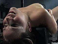 Naughty brown-haired chick with big ass strips her clothes off and then lies down on a couch. After that she gets toyed deep and hard by different fucking machines.