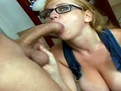 Big tittied blonde chick teaches some dude. This time she has wild sex instead of the lesson. She sucks gives him a blowjob and gets fucked hard on a sofa.