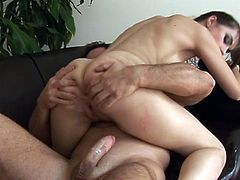 Sasha Grey rides thick cock down her ass on the couch. She started by sucking it off deep inside her throat, once it's as hard as iron, she welcomes it inside her cum craving pusssy.