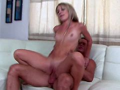 Turned on young stud Danny Mountain with long rock hard cock and hot body makes out with slender blonde Amy Brooke and fucks her sweet tight ass all over living room.