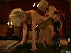Slutty blonde Chloe Camilla is getting naughty with Wolf Hudson indoors. Wolf ties Chloe up and pokes his dick into the girl's mouth and hot pussy.