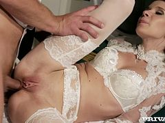 Charming and sexy Angel Piaff in her sexy outfit gets fucked in her pussy nice and slow