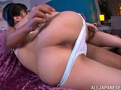 This playful and sizzling Japanese girlfriend is going to love that thick cock so bad! She gives him a nice blowjob and then jumps on him!