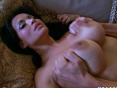 Bald headed dude polishes pussy of bosomy brunette Mason Storm