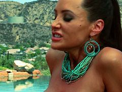 Looking smoking hot and sexy in their bikini is these horny MILF Lisa Ann and Jenna Presley who sensually get naked as they get down and lick each others wet pussy then pleasure it with a big size toy dick.