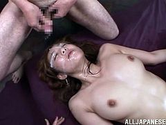 Minori Hatsune is a horny asian slut who wants nothing more than to feel as many big hard cocks inside her as possible. Look at her as she has an orgasm while her cunt is getting fucked hard, followed by two dicks fucking her mouth and eventually cumming on her pretty face giving her a facial fit for a slut.