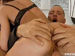 Sweet and horny brunette Alice knows the meaning of hardcore sex. While one stud pounds her butt in sideways position shapely harlot starts sucking the other dick for cum.