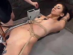 Princess Donna Dolore captures some cute girl, binds and torments her in a basement and then fucks her vag with a wired dildo.