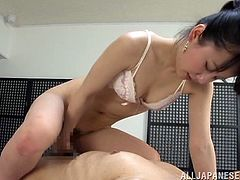 This filthy and kinky Japanese girl wants you to relax and enjoy! She gives you a nice blowjob and closes your eyes, when she jumps on you!