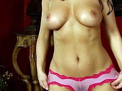 Staggering Aria Giovanni shows off her beautiful tits in alluring solo show