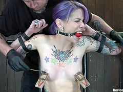 With mouse traps on her nipples and a black dildo, filling her pussy, the cute chick Krysta really feels, that she's trapped by her executor. She's experiencing both pain and pleasure, as the guy gives her his best moves. Yeah, watch how good she look ball gagged and punished, wanna see some more of this hottie?