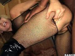 Amazing sluts with hot bodies wearing fishnet stockings gettin' fuckin' stuffed right here, check it out, motherfucker!!!
