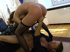 Sex hungry girl in fishnets gets her vagina licked. Then she gets her ass destroyed by Rocco Siffredi. He toys her ass with huge dildo and fucks rough.