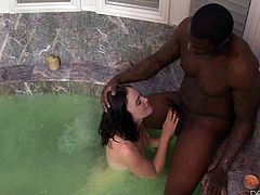 She's cute, has a sexy body and dark hair, dark as this guy's hard cock. Jodi is about to discover that she loves big black cocks! The cute brunette spends some hot time in the tub with this black guy, and sucks his penis like a whore. Then, he licks her snatch, preparing her vagina for his massive dick