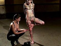 Tattooed Krysta gets tied up by Bobbi Starr. Later Krysta Kaos gets her tits tortured with electricity and pussy toyed by her mistress.