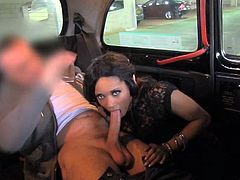 Hot babe strips the clothes off and then gives a blowjob to big cocked taxi driver. After that she gets fucked in her shaved pussy and tight ass.