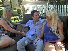 Rachel Love and Courtney Taylor have an amazing oral sex in a backyard. They suck massive dick and get their pussies licked well.