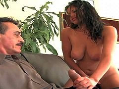 Evie Delatosso is playfufl teen sexy that shows up naked in front of older man. She shows her juicy boobs and spreads her legs invitingly. Then she jerks his cock like crazy!