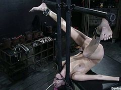 This horny and lusty girl hadn't felt pain for a long time and this was a day, when she gets tortured. Babe had a great time as a sex slave.