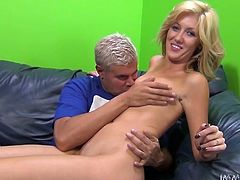 Slim blonde cutie Emily Kae is having fun with some dude indoors. She shows her nice body to the guy and then they bang doggy style and in other positions.
