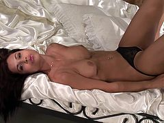 Amazing solo scene with a desirable and gorgeous siren Satin Bloom! Babe gets naked and starts showing her divine pussy and juicy shapes.