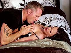Marcus fucks this milf, called Kendra Lust, after the breakfast. He sucks on her nipples and then, pulls of her pants, so he can get to her warm mature pussy, and fuck her like mad. Watch, if he will pound her senseless.