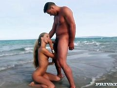 Lusty blonde babe with killer body has spicy sex at the place reminiscing the paradise. She gives awesome blowjob working her mouth hard. Later on she rides hard stick on top.