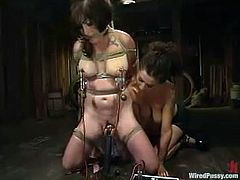 Princess Donna Dolore is playing dirty games with Stacey Stax in a basement. She binds and suspends the bitch and then attaches leads to her nipples and beats her with a stick.