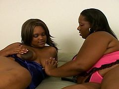 Horny lesbian BBW gets buck naked and bring each other to orgasm in this nasty scene of lesbian sex. Ebony lovers make out,  eat each others' black pussy and play with toys.