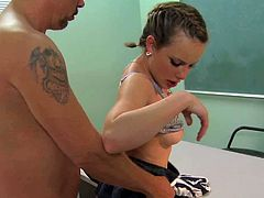 Cute brunette schoolgirl Katie St Ives with nice natural boobs and delicious pale ass in short skirt seduces randy teacher Tom Byron and gets trimmed cunny boned balls deep in classroom.